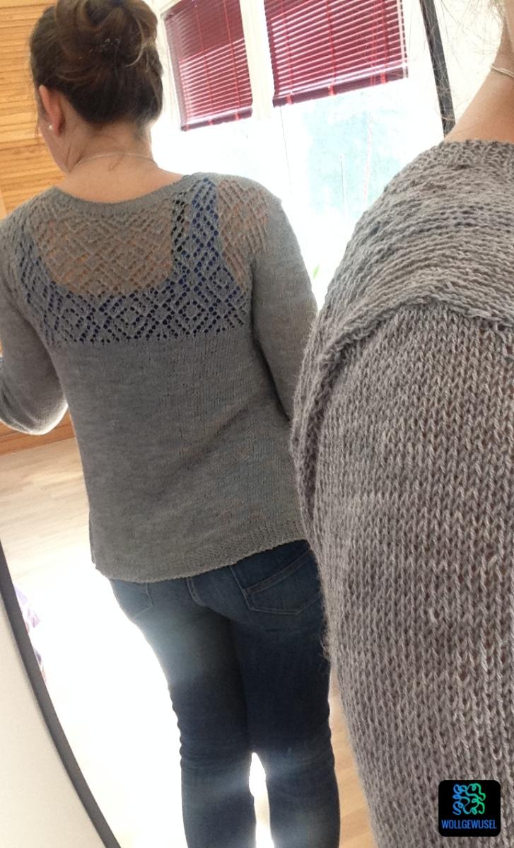 Federleichter Lace-Cardigan in grau